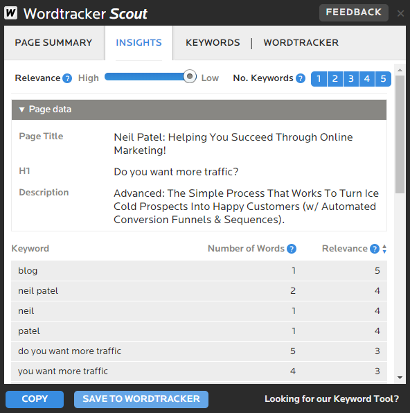 Scout example on Wordtracker